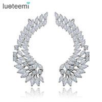 Wholesale Big Stud Earrings For Women - Korea Style Shining Crystal Big Angel Wings Pendant Earrings 925 Sterling Silver Pin Brincos Jewelry for Women Wedding LUOTEEMI