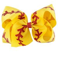 Wholesale Cute Ribbon Bows - 10 Pc lot Boutique Brown Baseball Ribbon Hair Bow Jumbo Cute Bow For Kids Girl Hair Clip