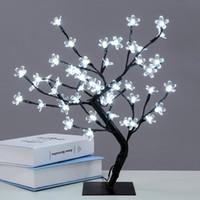 açık çiçek hafif ağaç toptan satış-Su geçirmez 45 cm / 17.72 Inç 48 LEDs Kiraz Çiçeği Masa Üstü Bonsai Ağacı Işık Siyah Dalları Kapalı / Açık Noel Dekorasyon Işıkları