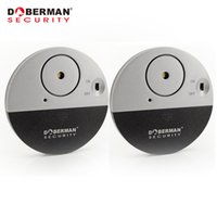 Wholesale Security For Doors Windows - Wholesale- Doberman Security Door Window Vibration Alarm for Warning Burglars Intruders 2Pcs Pack Home Alarm 100dB Strong Alarm Sound