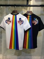Wholesale Ufo Shirt - 2017 summer new high-end men's brand t-shirt fashion short sleeve UFO rainbow printing fashion t shirt Men's Tops Tees U27