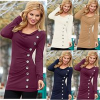 Wholesale Embellished Blouse - Ladies Slim Long Sleeve Pullover Button Embellished Tops Womens Solid Color Blouse T-Shirt Shirt Tee Jumper