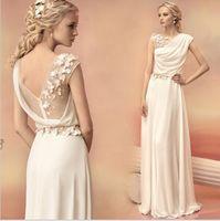 Wholesale Goddess Bride Dress - Sexy Long Evening Dresses 2017 Bride Princess Banquet Lace Chiffon Greek Goddess Elegant Backless Plus Size Formal Dress 2017 Hot Sale