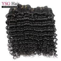 Wholesale Malaysian Curly Extensions - Deep wave curly virgin human hair 9A grade natural malaysian hair weaves bundles 3pcs lot remy hair extensions natural color