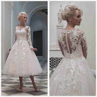 Wholesale Short Sleeve Fancy Dresses - Elegant Organza 2016 Wedding Dresses Fancy 2017 Bridal Gowns Long Sleeves Covered Button Tea Length 3D-Floral Appliques Wedding Party Gowns