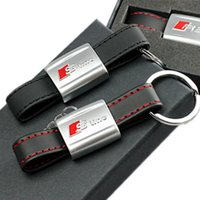 Wholesale Audi Leather Key Chain - Wholesale fashion Car Black Leather Strap Key Chain Sline Audi Metal Key Holder for A3 A4 A5 A6 A8