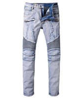 Wholesale Jeans Trou - New Paris Men's Fashion Runway Stretch Denim Biker Light Blue holes ripped biker jeans for Male casual pleated stretch denim pants Long trou