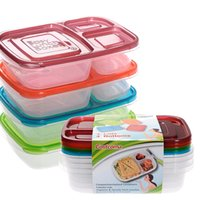 Wholesale 4 Pack Color Bento Lunch Box Meal Prep Compartment Portion Control Plastic Food Container Microwava DHL JU004