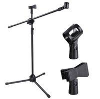 auslegerstativ großhandel-Hohe Qualität Mikrofon Boom Stand Robuste Verstellbare Höhe Micr Arm Stativ Base Stage Studio Halter Clip