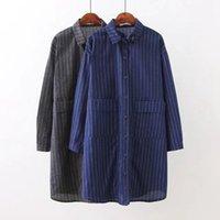 Wholesale Korean Shirt Knitting Pocket - Plus Size Stripe Women Shirts 2017 Autumn New 100% Cotton Pocket Korean 4XL Large Size Female Shirt Fashion Long Sleeve Knitting Bluse