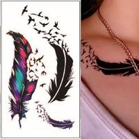 tatuaje de transferencia de plumas al por mayor-Sticker 10.5x6cm al por mayor de 1 Hoja de transferencia de agua de la falsificación flash etiqueta engomada del tatuaje impermeable tatuaje temporal plumas Tatto Mujeres WTA0352