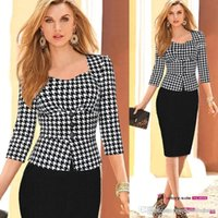 Wholesale Red Plaid Tunic - 2017 New Hot Sale Fashion Women's Elegant Plaid Tartan Patchwork Tunic Work Wear Business Office Career Party Pencil Dress
