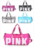 Wholesale Shoulder Bags Nylon Waterproof - Pink Duffle Bags Pink Handbags Pink Letter Travel Bag Beach Handbag Duffle Large Capacity Waterproof Yoga Sports Shoulder Bags Large By DHL