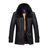 ingrosso smontabile-Mens cappotti invernali pelle di pecora giacche in vera pelliccia di coniglio fodera staccabile soprabito di neve super caldo outwear top 2017 più nuovo