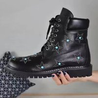 Wholesale Lace Up Studded Boots - Free shipping Women Star studded cow leather ankle boots lace-up black stones genuine leather martin boots