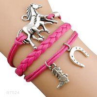 (10 Pieces / Lot) Chevaux Horseshoe Heart To Heart Charm Love Bracelets Marine Marron Cuff Wrist Band Best Gift Jewelry