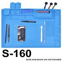 Wholesale bga repair - New Arrived S-160 45 x 30cm Blue Rubber Silicone Pad with Magnetic Repair Mat Heat Insulation BGA Soldering Repair Station 5pcs lot