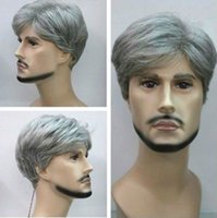 Wholesale Gray Short Cosplay Wigs - New Fashion Short silver gray Man cosplay Wig + wigs cap free shipping