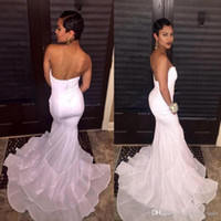 Wholesale American Sweetheart Pink - New 2016 White African American Prom Dresses Sweetheart Mermaid Layered Skirts Sexy Backless Long Evening Gowns Formal Party Dresses