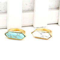 Wholesale Turquoise Solitaire Rings - High quality kendra scott Druzy Stone ring Geometric scott Gemstone rings Silver Plating white turquoise finger rings jewelry gift