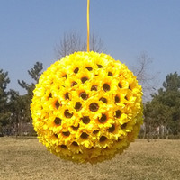 Wholesale Fake Flower Balls - 10 Inch Sunflower Kissing Ball flower in yellow decorate flowers artificial flower for wedding garden party gift decoration fake silk flower