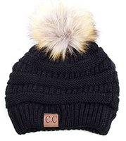 Wholesale Acrylic Beanie Wholesale - Winter Warm Thicker Soft Stetch Cable CC Beanies Hats Women Faux Fur Pom Pom Knitted Skullies Caps