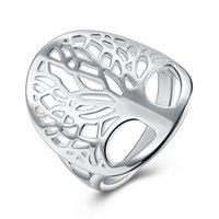 anillo de la moda del árbol al por mayor-Fashion Tree of life Anillo de plata Hollow Life Tree Anillos para mujeres Lady Charm Jewelry LKNSPCR891-6