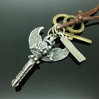 Wholesale Alchemy Necklace - Rock Punk Pendant Fashion Men Women Adjustable Genuine Leather Crown angel wings key necklace Alchemy Brass Stylish Shape