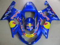 etiketli etiket kitleri toptan satış-Suzuki GSXR600 için motosiklet fairing kiti 01 02 03 sarı etiket mavi kaporta marangozluğu set GSXR750 2001 2002 2003 IY29