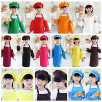 Wholesale Painting Bibs - 10 Colors Kids Aprons Pocket Craft Cooking Baking Art Painting Kids Kitchen Dining Bib Kitchen Supplies CCA6359 100pcs