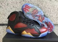 Wholesale Cheap Gold Shoes For Kids - Hot New Air Retro 7 Doernbecher DB Basketball Shoes For Men Cheap Damien Kids Red Black Gold And Black Bronze Sneakers Size US 41-47