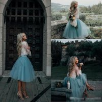 Wholesale One Shoulder Knee Chiffon Dress - Short Homecoming Prom Dresses 2017 Cheap White and Mint Lace Short Two Piece Long Sleeve Illusion Boho Graduation Trendy Evening Gowns
