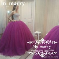 Wholesale Sexy 18 Image - Purple Ball Gown Quinceanera Dresses 2017 Crystal Beaded Corset Tulle Skirt Arabic Sweet 15 Sixteen 18 Birthday Formal Prom Party Dresses