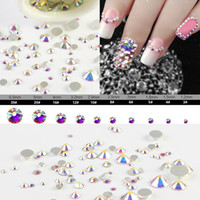 Wholesale Design Sticker Nail Art - Sale! Super 10garm Bag Mix Sizes Crystal AB Round Nail Art stickers Rhinestones Glitter Decoration accessories design nail