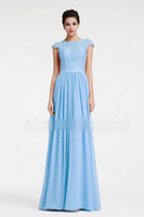 Wholesale beach wedding dresses fast resale online - Blue Beach Long Modest Bridesmaid Dresses With Cap Sleeves Lace Chiffon A line Country Formal Wedding Party Gowns Custom Made Fast Shipping