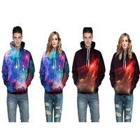 frauen galaxie hoodie großhandel-2017 neue ankunft weiches material baumwolle plend hoodie 3D druck galaxy nacht hochwertige hoody unisex herren frauen casual pullover sweatshirts
