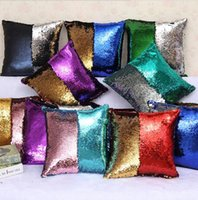 Wholesale 31 Double Color Sequin Cushion Cover Mermaid Pillow Cover Glitter Reversible Sofa Magic Double Reversible Swipe pillow case cover DHL FREE
