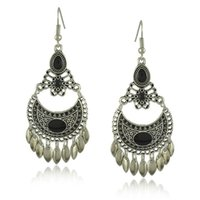 Wholesale Earring Palace Flower - Free shipping promotion Bohemia water fringed Jeweled alloy hollow carved palace retro Earrings