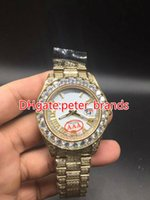 Wholesale Watch Big Size Men - Huge diamonds bezel big size 43mm wrist watch luxury brand hip hop rappers full iced out gold case white face dial men watches