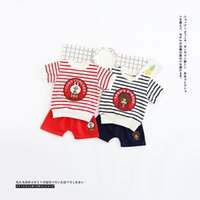 Wholesale Paints Boys - INS 2017 hot selling Europe and America style cute Cartoon painting 100% cotton boys girls Summer Striped short sleeve children's suit