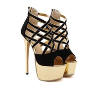 Wholesale Womens Glitter Sandals - 16cm Ladies Womens Cross Strappy Black Gold Stiletto Ultra High Heels Platform Sandals Size 34 To 40