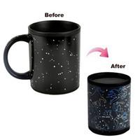 Wholesale Spoon Cafe - Wholesale- Mug Magic Cup Black Caneca Chameleon Coffee Cups 330ml Night Star Ceramic Espresso Cup Thermomug tasse cafe