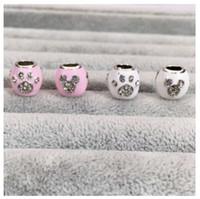 Wholesale Purple Paw - Fits Pandora Charm Bracelet Mickey & Paw Prints Crystal Beads Sterling Silver Dangle DIY Handmade Jewelry For Chamilia European Women Charms