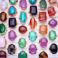 anéis de banda pedra natural venda por atacado-Lotes Oversize Mixed Estilos Lotes Natural Pedras Preciosas Banhado A Ouro Tom Banda Anéis Moda Jóias R0507