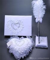 kalp gelin seti toptan satış-3 Adet set Çuval Bezi Hessen Dantel Kristal Düğün Ziyaretçi Defteri Kalem Set Yüzük Yastık Jartiyer Dekorasyon Aşk Kalp Gelin Yüzük Yastıklar Düğün Malzemeleri