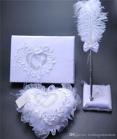 Wholesale White Lace Guest Book - 3Pc set Burlap Hessian Lace Crystal Wedding Guest Book Pen Set Ring Pillow Garter Decoration Love Heart Bridal Ring Pillows Wedding Supplies