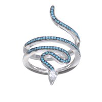 Wholesale Turquoise Wedding Rings Women - KIVN Fashion Jewelry Snake Delicate Pave CZ Cubic Zirconia Turquoise Rings for Women Wedding Birthday Party Christmas gift
