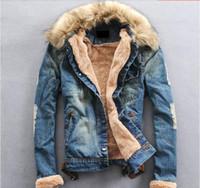 Wholesale Winter Jeans For Men - Wholesale- 2014 Wholesale Winter Denim Jackets for men , Male Fur Collar Plus Thick Velvet Jeans Outwear Coat roupas masculinas S366
