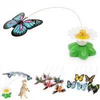 fliegende schmetterling spielzeug großhandel-Der elektrische Schmetterling, der um die Blumenhaustierkatze fliegt, spielt Katzen-Haustier-Spielzeug