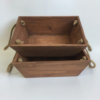Wholesale Wholesale Planters Box - D26XW18XH9CM New Wooden Planter Boxes Wooden Flower Boxes Brown wood flower planter with Rope Handle SF-151